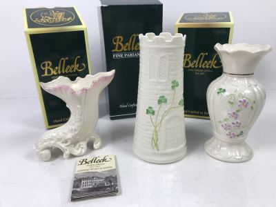 New Belleek Fine Parian China Vases: Castle Vase, Irish Flax Vase And Fermanagh Vase Retails $170