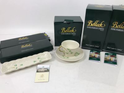 New Belleek Fine Parian China: (2) Shamrock Mint Trays, (1) Shamrock Cup And Saucer Set And (2) Sets Of (2) 10oz Claddagh Mugs Retails $220