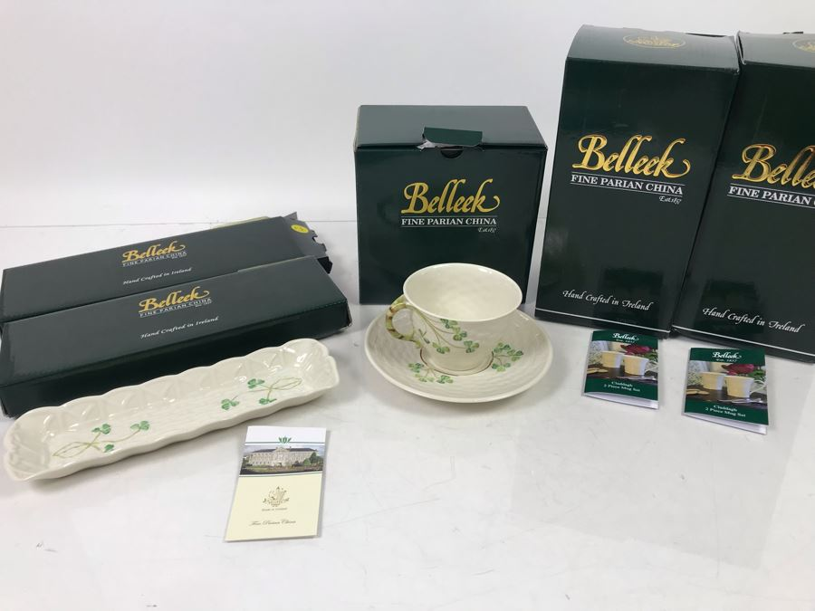 New Belleek Fine Parian China: (2) Shamrock Mint Trays, (1) Shamrock Cup And Saucer Set And (2) Sets Of (2) 10oz Claddagh Mugs Retails $220 [Photo 1]