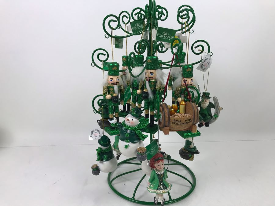 Green Metal Store Display With New Irish Themed Christmas Ornaments From Kurt S. Adler Including Nutcrackers Over $100 In Ornaments [Photo 1]