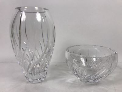 (2) Marquis By Waterford Crystal Vase 7'H And Bowl 3'H