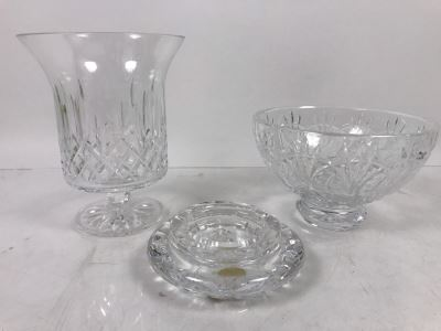 Waterford Irish Crystal Lot With Footed Crystal Bowl 3.5'H And Footed Vase 6'H