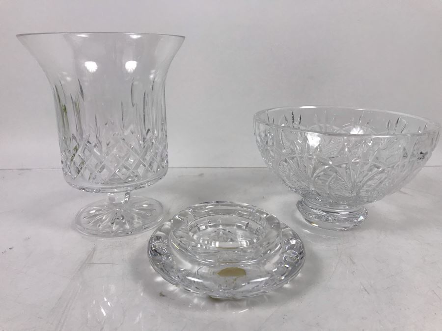 Waterford Irish Crystal Lot With Footed Crystal Bowl 3.5'H And Footed Vase 6'H [Photo 1]