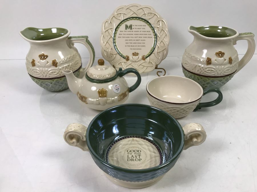 Irish Grasslands Road Lot With Teapot And Teacup, Double Handled Bowl, (2) Pitchers And Irish Plaque With Stand Retails $150 [Photo 1]