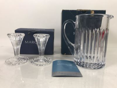 New Marquis By Waterford Pair Of Bezel 4' Candlesticks And Bezel Pitcher Retails $138