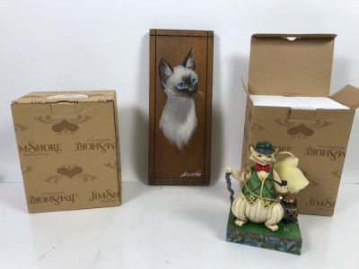 Pair Of New Jim Shore Heartwood Creek 'Charmed, To Be Sure' Cat Figurines And Original Signed Cat Painting On Board
