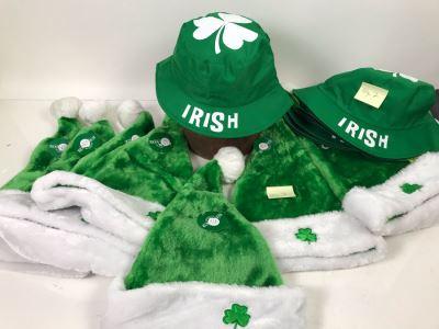 (7) Kurt S. Adler Irish Santa Hats And (7) Irish Bucket Hats $126