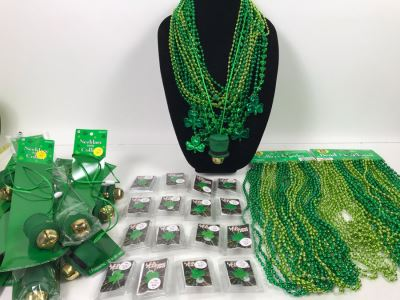 (16) LED Flashing Clover Pins, Green Bead Necklaces And (13) St. Patricks Day Bell Necklaces Retails Over $200