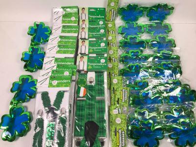 Irish Themed Costume Lot With (11) Jumbo Shamrock Novelty Glasses And (14) Irish Novelty Suspenders Retails $238