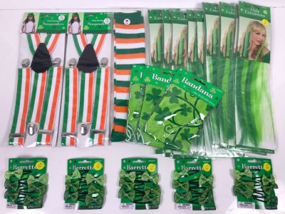New Irish Themed Costume Lot Including Hair Extensions, Bandanas, Suspenders And Barrettes Retails $170