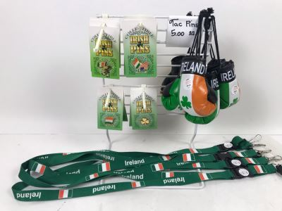 (13) New Irish Tac Pins, (3) Ireland Boxing Gloves And (4) Irish Lanyards With Retail Display Rack Retails Over $100