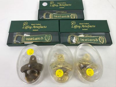 (3) New Brass Irish 'Slainte' -- 'Health' Wall Bottle Openers With Mounting Hardware And (3) Hand Crafted Liffey Artefacts Ireland Bottle Openers Retails $117