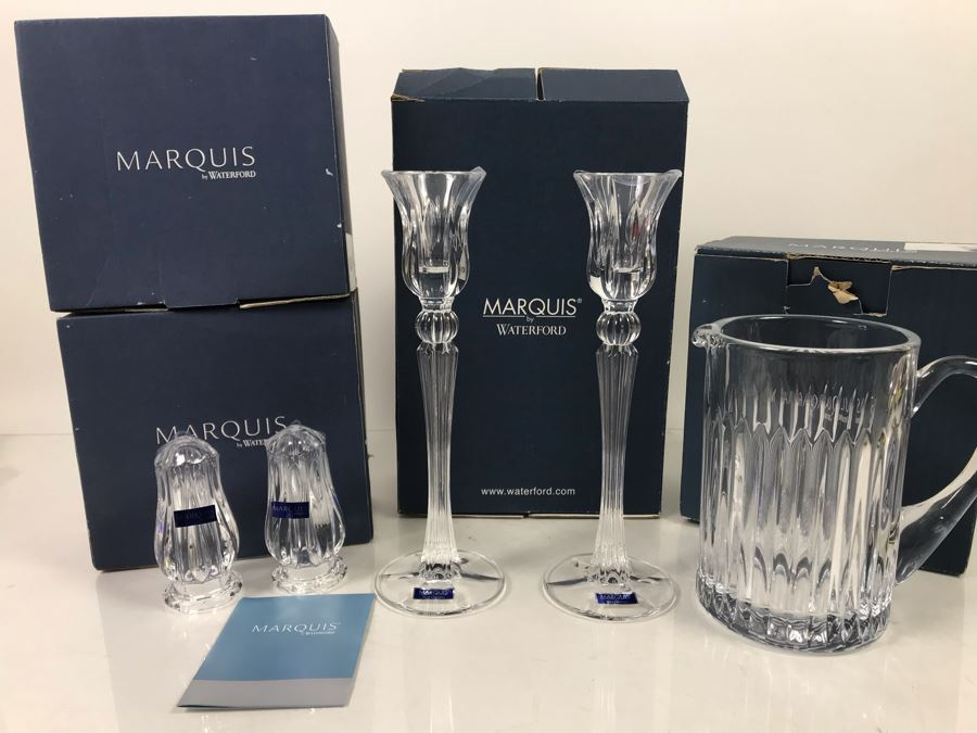 Marquis By Waterford Lot With Pair Of Sheridan Salt & Pepper Shakers, Sheridan 10' Candlestick Pair And Bezel Pitcher Retails $296