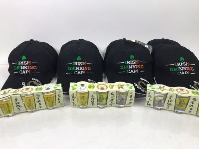 (3) New Irish Shot Glass Sets And (12) New Irish Drinking Caps With Bottle Opener In Visor Retails $381