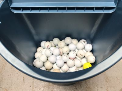 Plastic Trash Can Filled With Over 100 Golf Balls
