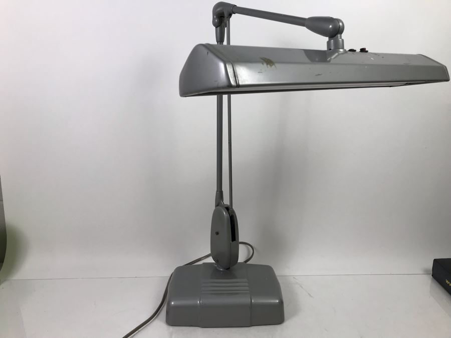 item title=Vintage Art Deco Metal Floating Adjustable Desk Lamp Dazor Floating Light Fixture Model P 2324 By Dazor Mfg Corp St Louis, MO