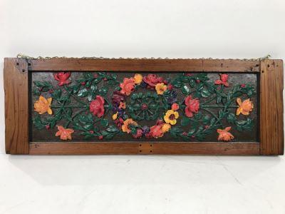 Vintage Floral Design Door Panel Wall Hanging 25' X 8.5'