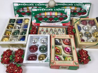 Christmas Ornament Lot With Vintage And Contemporary Glass Ornaments And (3) Sets Of New Bubbling Lights