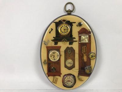 Signed Vintage Clock Parts Artwork 10'H