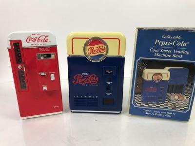 Vintage 1994 Vendo Coca-Cola Vending Machine Replica And Pepsi-Cola Coin Sorter Vending Machine Bank