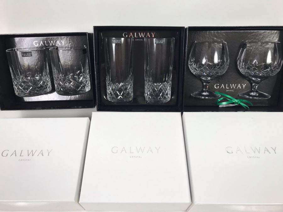 New Galway Irish Crystal Sets: Longford Brandy Pair, Longford Hiball Pair And Longford D.O.F. Pair Whiskey Retails $250 [Photo 1]