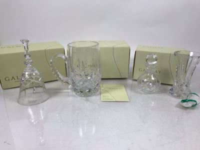 Galway Irish Crystal Items: Longford Perfume Bottle, 5' Vase, Tankard And 6' Bell Retails $230