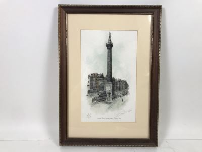 Limited Edition Hand Signed Print Of Nelson's Pillar, Dublin 1923 11 X 16 With Certificate Of Authenticity Retails $189