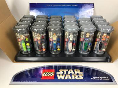 New 2003 LEGO Star Wars Writing System Writing System Pens: Yoda Pens, Tusken Raider Pens, Obi-Wan Kenobi Pens, Stormtrooper Pens, Paploo Pens, Luke Skywalker Pens Merchandiser Store Display By The CDM Company - 23 Pens Total - Missing One Paploo Pen