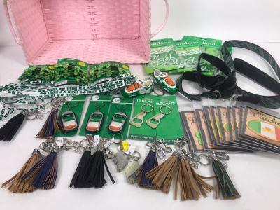 Just Added - Ireland Lot With Keychains, Key Fobs, Patches, Irish Barrettes, Irish Shoe Laces, Irish Bandanas, (2) Irish Dog Collars, Irish Dog Leash And Pink Basket - See Photos