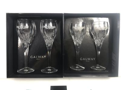 Just Added - Galway Crystal Claddagh Pair Of Wine Glasses And Pair Of Goblets - 4 Glasses With Boxes - Retails $180