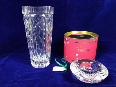 Just Added - Waterford Crystal 8' Vase And Waterford Crystal Votive With Box Retails $308