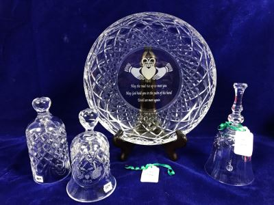 Just Added - Pair Of Waterford Crystal Bells And Galway Crystal Plate And Bell