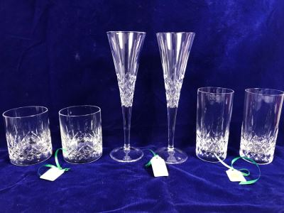 Just Added - Galway Crystal Pair Of Romance Flutes, Pair Of Highball Glasses And Pair Of Whiskey Glasses Retails $250