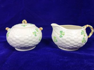 Just Added - Belleek Shamrock Creamer And Sugar Bowl Retails $120