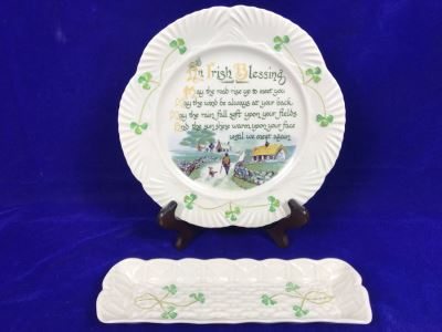 Just Added - Belleek Ireland Mint Tray And Belleek Harp Irish Blessing Plate Retails $120