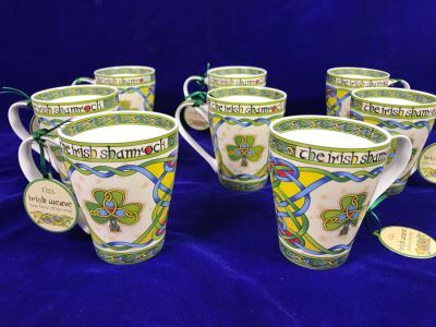 Just Added - Set Of (8) Clara Irish Weave New Bone China Coffee Mugs Retails $120