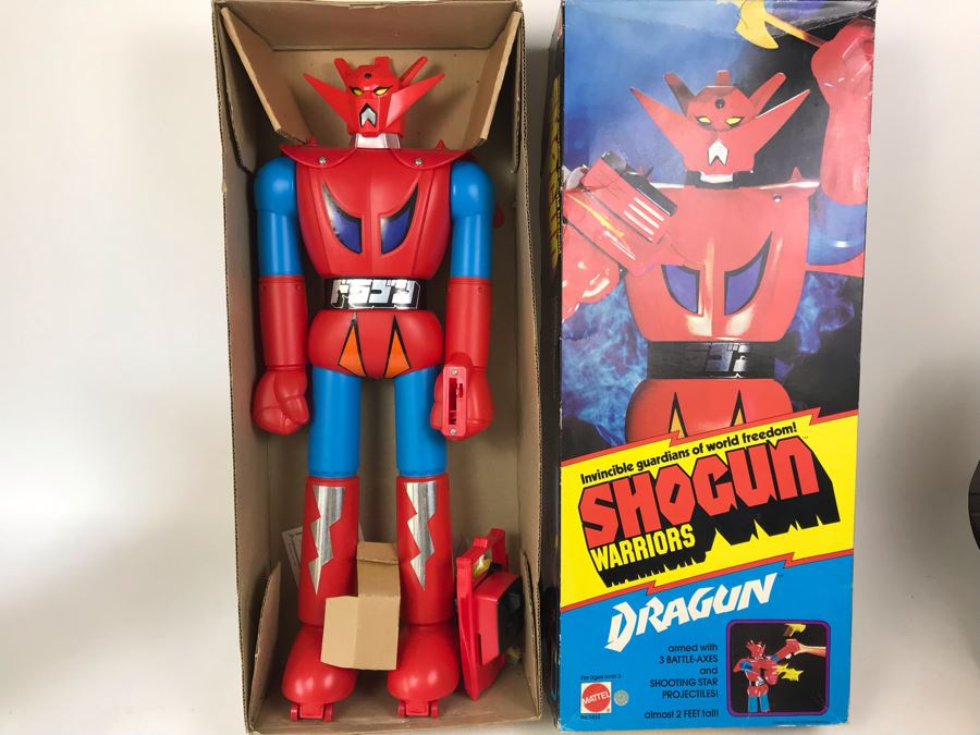 Like New 1976 Mattel Shogun Warriors Dragun 23 1/2' Tall With Box No. 9858 See Photos For Damage To Wristband Of Star Shooter That Straps Onto The Arm