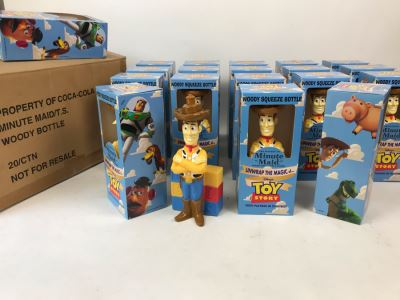 Rare New 1995 Disney's Original Toy Story One Minute Maid Woody Squeeze Bottles In Boxes - 19 Bottles