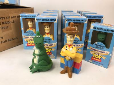 Rare New 1995 Disney's Original Toy Story One Minute Maid Woody And Rex Squeeze Bottles In Boxes - 13 Woody Bottles And 2 Rex Bottles