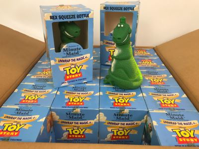 Rare New 1995 Disney's Original Toy Story One Minute Maid Rex Squeeze Bottles In Boxes - 20 Rex Bottles