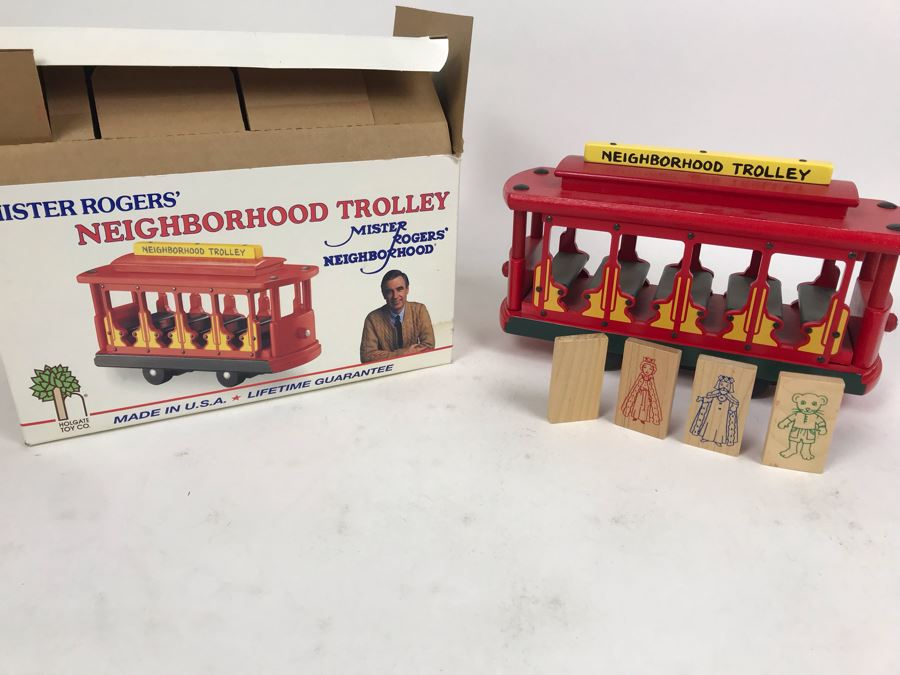 Vintage 1991 Mister Rogers' Neighborhood Trolley Wooden Train New In Box Holgate Toy Company [Photo 1]