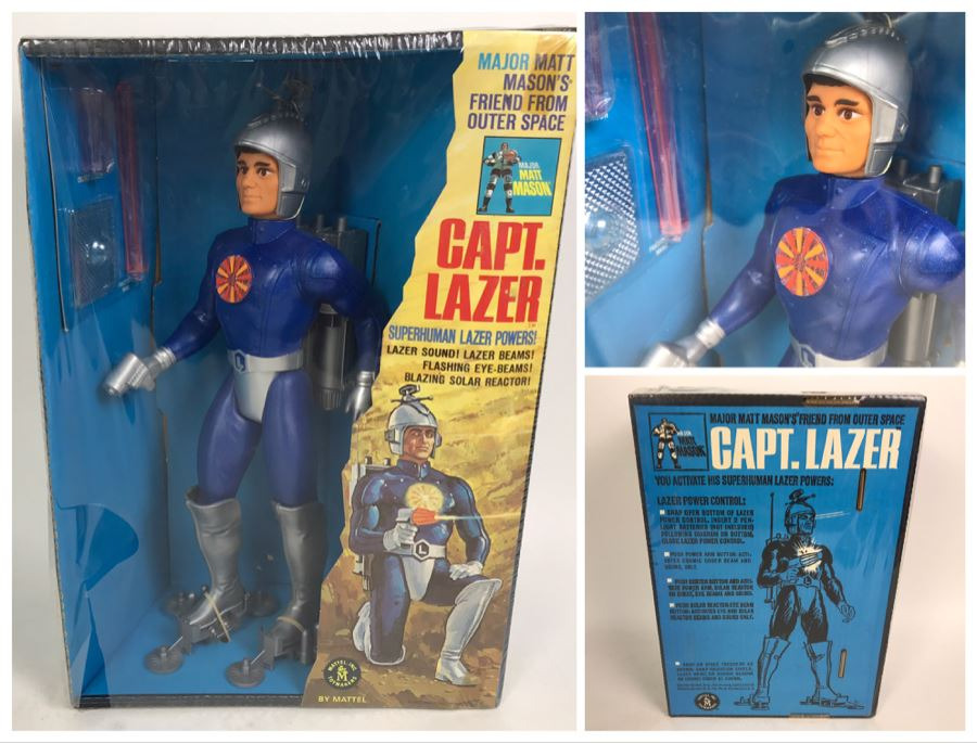 Rare Vintage 1967 Mattel New In Box Capt. Lazer Major Matt Mason Action Figure Toy 6330 - Note Tears In Protective Seal Shown In Photos [Photo 1]