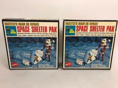 Pair Of Vintage 1969 New In Box Mattel's Man In Space Space Shelter Paks Major Matt Mason