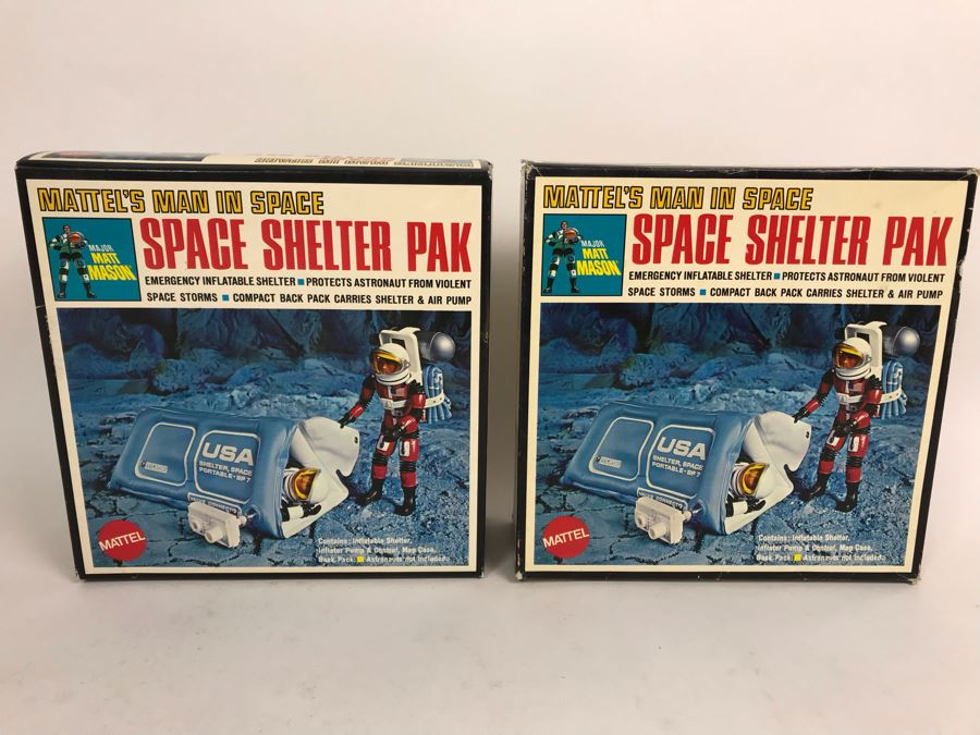 Pair Of Vintage 1969 New In Box Mattel's Man In Space Space Shelter Paks Major Matt Mason [Photo 1]