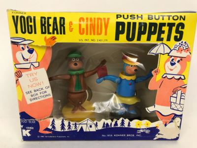 Vintage 1962 Kohner Yogi Bear & Cindy Push Button Puppets New In Damaged Box