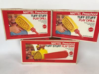 Vintage 1972 Mattel Toys: (2) New In Box Mattel Preschool Tuff Stuff Play Drill And (1) New In Box Mattel Preschool Tuff Stuff Play Saw