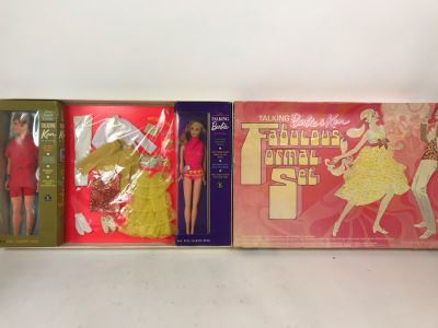 Vintage 1969 Rare Talking Barbie & Ken Fabulous Formal Set With Talking Barbie Doll, Talking Ken Doll And Loads Of New Sixties Mod Barbie And Ken Clothes And Accessories - Dolls And Clothes Look Mint - Box Has Some Damage