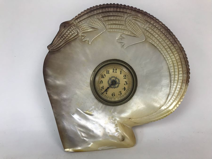 Vintage Mechanical Clock By The Western Clock Mfg Co La Salle, Ill With Carved Alligator Design Shell [Photo 1]
