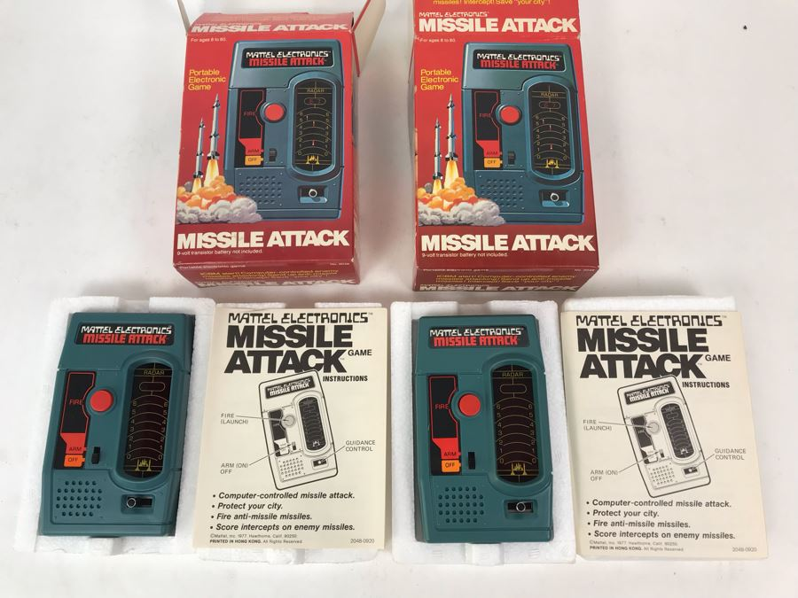 Pair Of Vintage 1977 Mattel Electronics Portable Handheld Games Missile Attack New In Box [Photo 1]