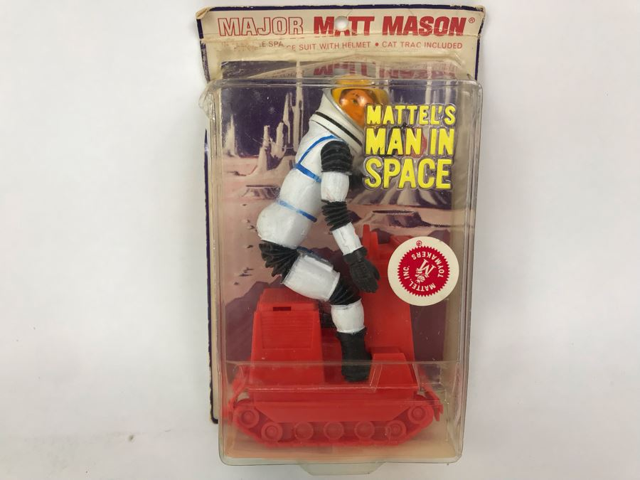 Vintage 1967 Mattel's Man In Space Major Matt Mason In Flexible Space Suit With Helmet Cat Trac Included In Damage Packaging [Photo 1]
